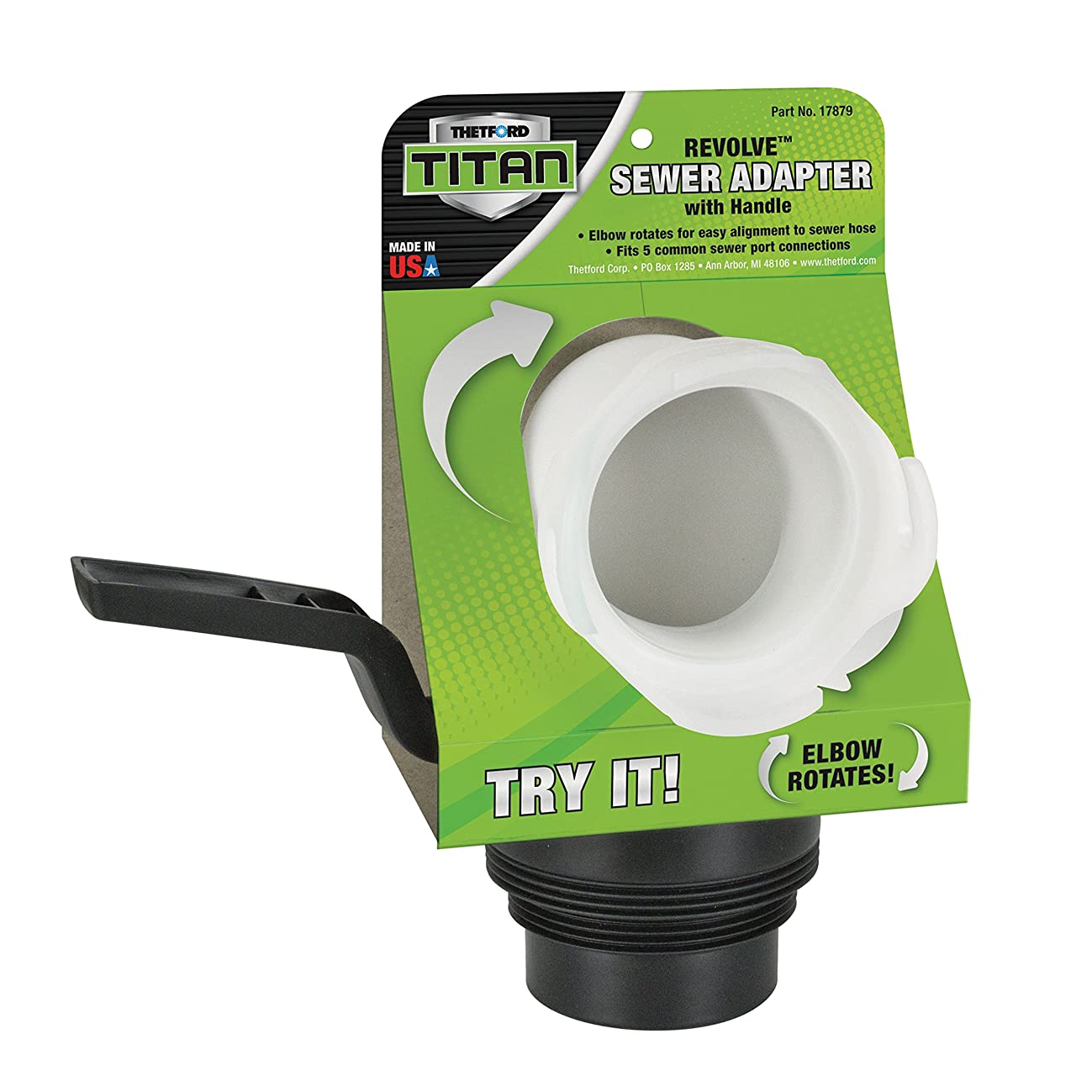 Thetford 17879 Titan Revolve Sewer Adapter with Handle