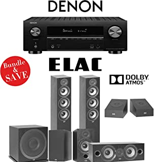 Elac F5.2 Debut 2.0 5.1.2-Ch Dolby Atmos Home Theater Speaker System with Denon AVR-X3500H 7.2-Channel 4K Network AV Receiver