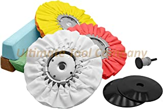 Complete Kit 9pc Airway Wheel & Polishing Compound Blue Brown Green Shine Cut Process   Includes Safety Flanges For Wheels