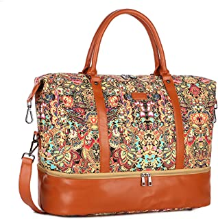 BAOSHA HB-28 Women Ladies Travel Weekender Bag Overnight Carry-on in Trolley Handle (HS with Shoe Compartment)
