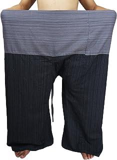 "Lovely Plus Fisherman Wrap Pants Plus Size Mens Womens Casual Yoga Pants Waist 77"" with Pocket (GA Black Gray)"