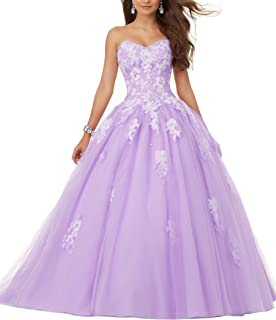 Eldecey Women's Sweetheart Lace Applique Sweet 16 Ball Gown Quinceanera Dress