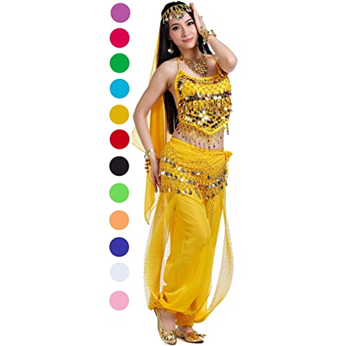 75aeb15a0 Belly Dance Halloween Carnival India Dance Costume Outfit Accessories Set  for Women 12-Cute Color