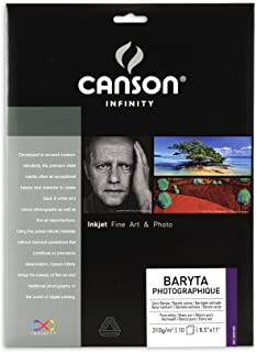 Canson Infinity Baryta Photographique Fine Art Photo Paper, Acid Free, Idea for Inkjet Portraits, 8.5 x 11 Inch, White, 10 Sheets