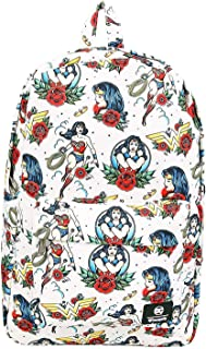 DC Comics Wonder Woman Floral Print Loungefly Backpack Standard
