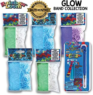 Rainbow Loom 3000+ Authentic Rubber Band Collection (Glow) + Bonus Metal Hook, Long Lasting Bands