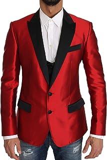 Dolce & Gabbana Men's Red Black Silk 2 Piece Vest Blazer