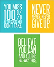 Motivational Inspirational Famous Quotes Teen Boy Girl Sports Wall Art Posters Decorative Prints Workout Fitness Wall Decor Home Office Business (8 x 10 Mixed)