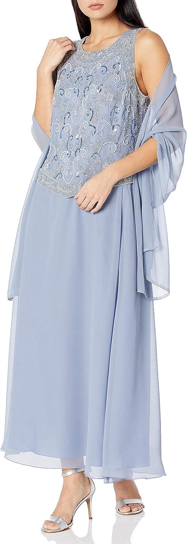 J Kara Women's Beaded V Trim Detail Long Dress with Scarf
