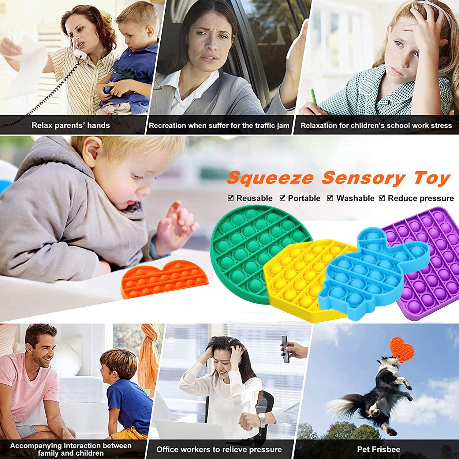 Color2 Poke Pop Toys for Autism Needs Stress//Anxiety Relief Silicone Squeeze Toy for Kids and Adults 5PCS ehihas Push Pop Bubble Fidget Sensory Toy