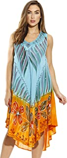 Riviera Sun Tie Dye Summer Dress with Floral Hand Painted Design