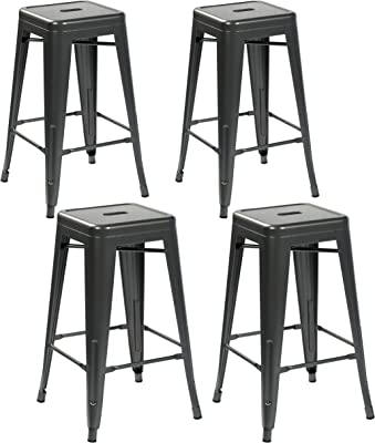 United Office Chair VC-3001MB-4 VC-3001MS-4 26 Inch Kitchen Counter Height, Indoor, Outdoor Metal Bar Stools, Set of 4, Sliver