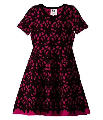 Milly Minis Floral Mesh Jacquard Dress (Big Kids) (Magenta/Black) Girl