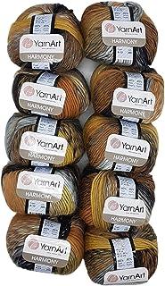 YarnArt Harmony Lot de 10 pelotes de laine à tricoter Multicolore avec dégradé de couleur, 500 g avec 60 % de laine (noir,...