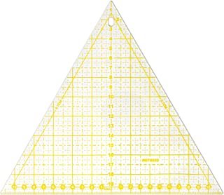 VViViD Yellow Equilateral Triangle Quilting Template 20 Centimeter Gridded Ruler