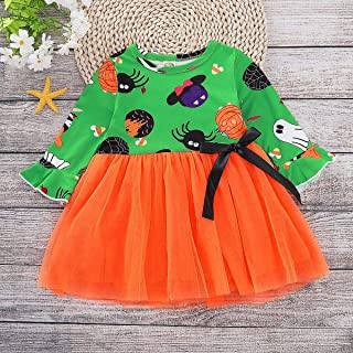 SEVEN YOUNG Halloween Kids Toddler Baby Girls Dresses Outfit Pumpkin Ghost Print Long Sleeve Ruffled Tutu Dresses Clothes Set