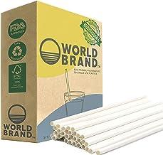 World Brand 5X Stronger 250 Ct White Paper Straws - Biodegradable Drinking Straws - Eco-Friendly - Plastic & Dye Free - Pe...