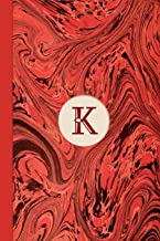 Monogram K Marble Notebook (Regency Red Edition): Blank Lined Marble Journal for Names Starting with Initial Letter K