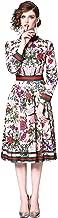 LAI MENG FIVE CATS Women's 3/4 Sleeve Floral Print Button up Casual A-line Midi Dress