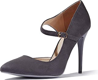 DailyShoes Women's Classic D'Orsay Slip On Strap Stiletto Pointed Toe Paris-03 High Heel Dress Pump Shoes