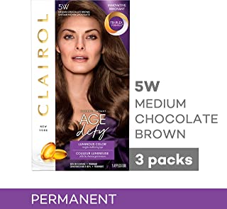 Clairol Age Defy Permanent Hair Color, 5W Medium Chocolate Brown, 3 Count