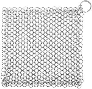 Stainless Steel Cast Iron Cleaner, Chainmail Scrubber XL 8x6 inch for Skillet, Pan, Griddle and Wok