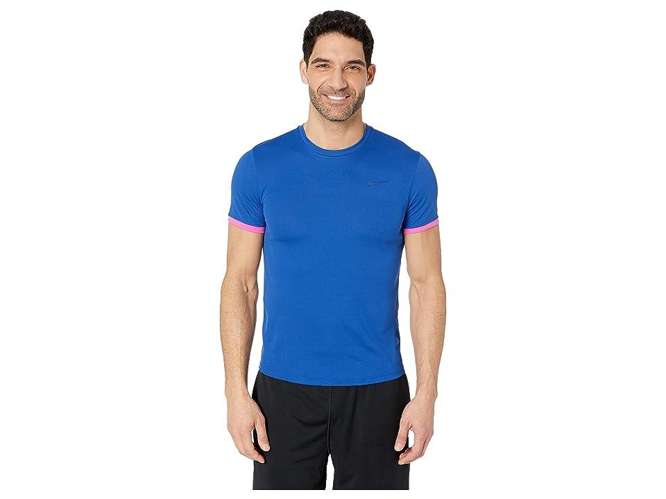 Nike NikeCourt Dri-FIT Short Sleeve Tennis Top (Indigo Force/Active Fuchsia/Indigo Force) Men