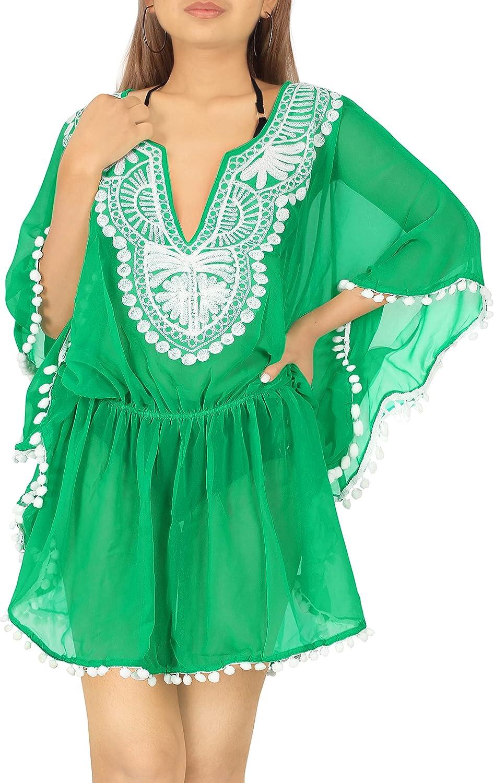 LA LEELA Women's Maxi Kaftan Swimwear Beach Cover Up for Swimwear Embroidered
