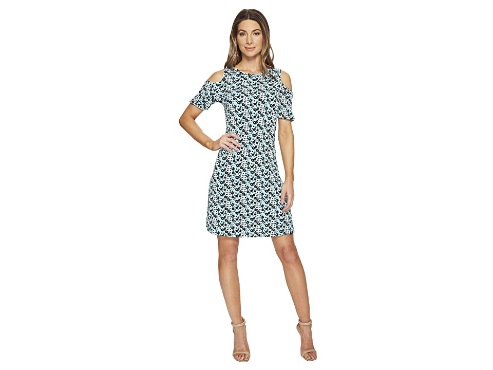 MICHAEL Michael Kors Carnation Cold Shoulder Dress (Tile Blue/Black Multi) Women