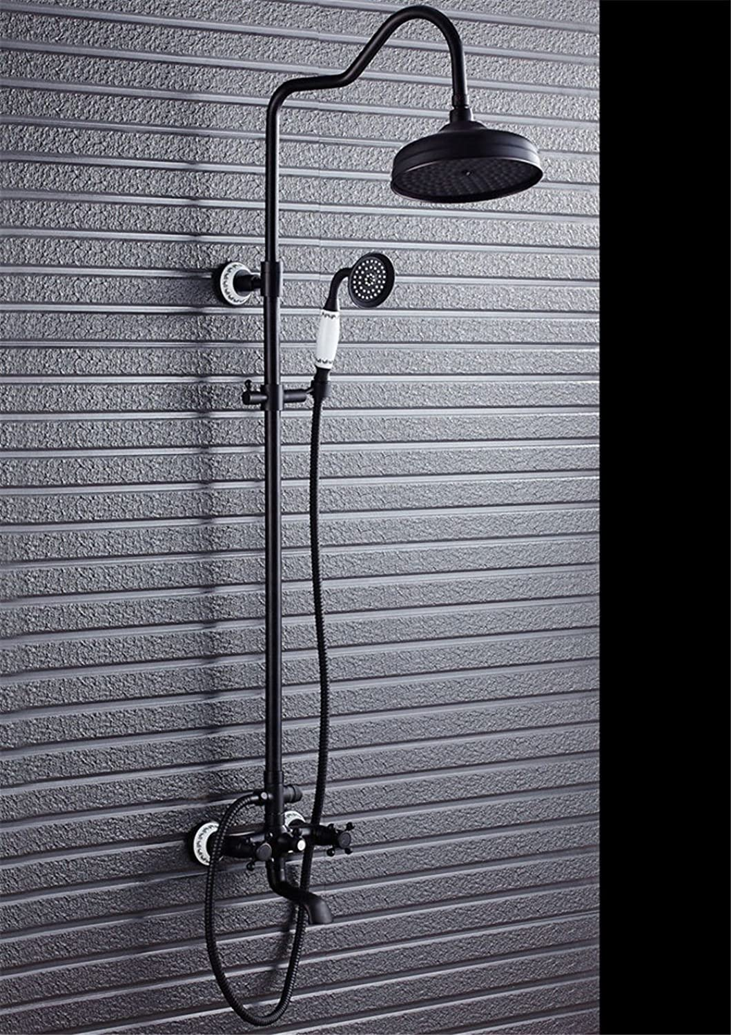 NewBorn Faucet Water Taps Hot And Cold Water Lift The Rain Sprinkler Black Shower Full Copper Showers Showers Shower Kit Black Retro Antique Shower Kit Shower Water Tap