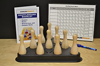 Zieglerworld Table Shuffleboard Bowling Brown Pins - Pinsetter - Rules & Regulation Booklet & Scoring Chart