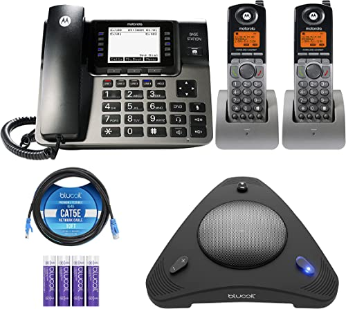 wholesale Motorola ML1002H DECT 6.0 sale Expandable 1 to 4 Lines Business Phone System with outlet online sale Voicemail, Digital Receptionist Bundle with Blucoil 4 AAA Batteries, 10' Cat5 Cable, and USB Conference Speakerphone sale