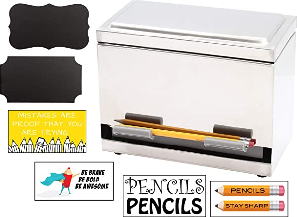 2Fold Supply Stainless Steel Pencil Dispenser For Bulk Pencil Storage And Dispensing Custom Pencil Inspirational Classroom And Chalkboard Marker Labels Included Holds Up To 200 Pencils