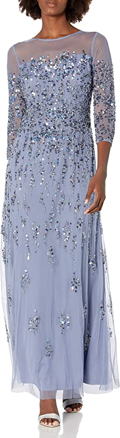 Vintage 1920s Dresses – Where to Buy Adrianna Papell Womens Beaded Crew Neck Gown  AT vintagedancer.com
