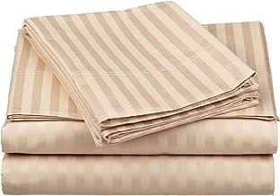 100% Egyptian Cotton 650 Thread Count California King 4-Piece Sheet Set Deep Pocket, Single Ply, Stripe, Beige