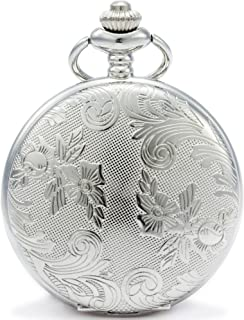 SEWOR Bronze Flowers Vintage Quartz Pocket Watch Shell Dial with Two Type Chain(Leather+Metal) (Silver case)