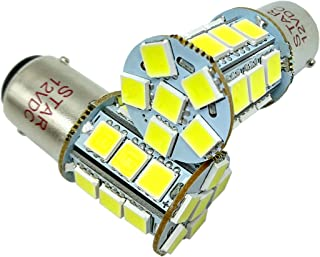 BA15D 24 SMD 1076 1142 68 90 1004 1130 1158 1176 1178 Car LED Bulbs Replacement for RV Camper Turn Tail Singnal Lamp, 12V DC, White, Pack of 2