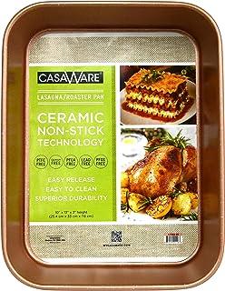 casaWare Ceramic Coated NonStick Lasagna/Roaster Pan 13 x 10 x 3-Inch (Rose Gold Granite)