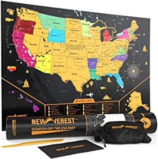 "Newverest Scratch Off United States Map - Detailed Travel Art Poster, Fits 17"" x 24"" Frame, Comes with Scratch Tool, 20 Push Pins, 4 Stickers, Cleaning Cloth, Carry Bag + Gift Tube"