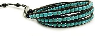 BLUEYES COLLECTION 3 Wrap Genuine Leather Bracelet Gemstone Bead