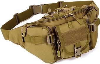 Tactical Cinturón de cadera Cintura Pack Fanny resistente al agua portátil bolso Bolsa Riñonera Senderismo Viaje Gran Ejército Militar riñonera para la vida diaria Ciclismo Camping Senderismo Caza y Pesca Compras, Marrón