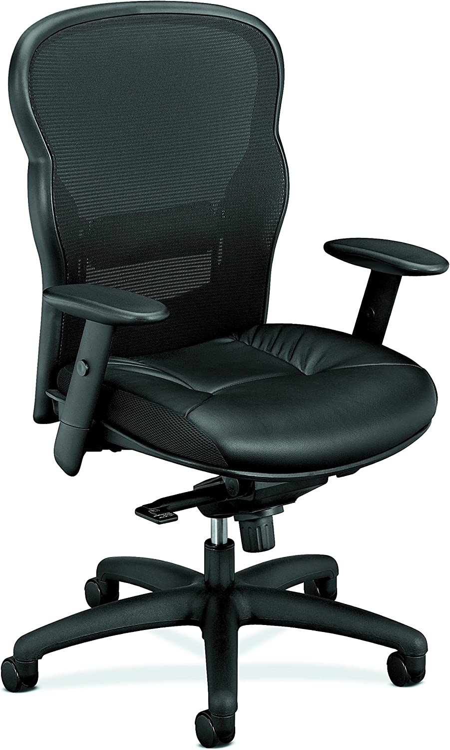 HON Wave Executive Leather Chair - Mesh High-Back Task Chair with Arms, Black (HVL701)