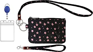 Zip ID Case, Lanyard & Wristlet, ID Badge Holder for Office and School, Card case (Black Star)