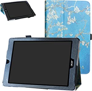 Acer Chromebook Tab 10 Case,Bige PU Leather Folio 2-Folding Stand Cover for Acer Chromebook Tab 10 Tablet,Almond Blossom