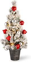 National Tree 3 Foot Snowy Bristle Pine Tabletop Tree with Red and Silver Ornaments and 50 Battery Operated Warm White LED...
