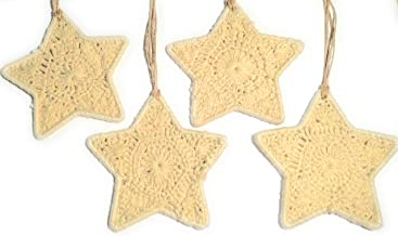 Christmas Ornaments Mini Size - set of four pack. Rustic Ecru Christmas Star Decorations made with Cotton and Metal Frame....