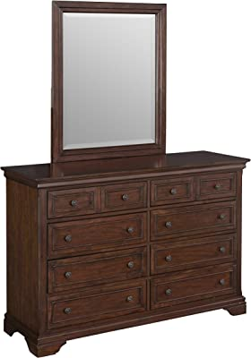 Home Styles Lafayette Cherry Dresser and Mirror with Eight Drawers, Felt-lined Top Drawers, and Antiqued Brass Hardware