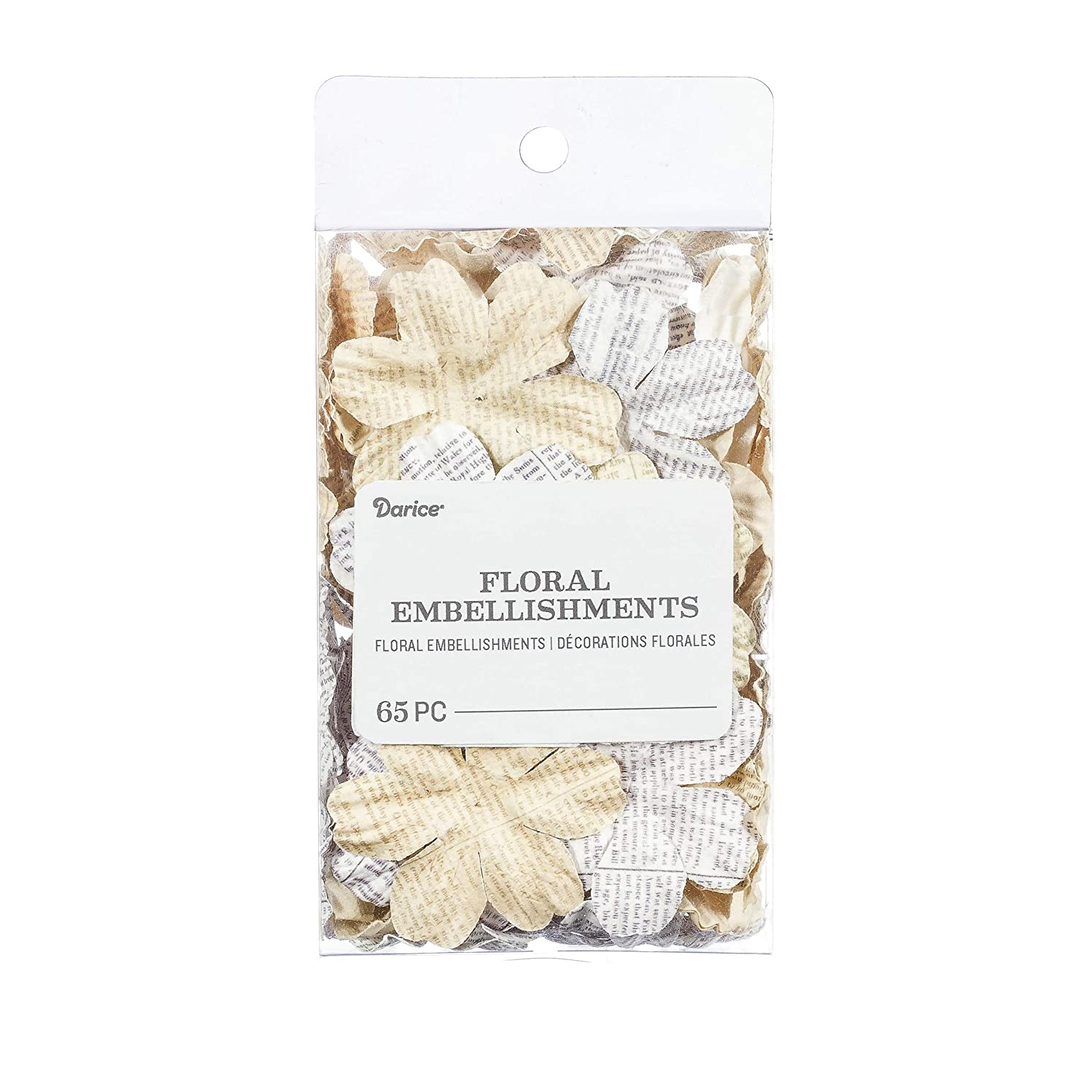 Darice 30061981 Newspaper Floral Embellishments: White/Ivory, 1.75 in, 65 Pack, Assorted