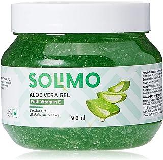Amazon Brand - Solimo 90% Aloe Vera Gel with Vitamin E (for Skin & Hair) - 500 ml