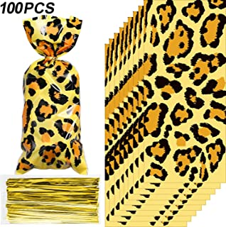 Blulu 100 Pieces Animal Print Party Supplies Bags Animal Print Design Pattern Candy Bags Sealable Treat Bags for Zoo or Jungle Halloween Theme Party Supplies (Leopard)